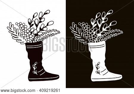 Willow And Mimosa Branches In A Boot. Stencil For Cutting, Burning Or Foiling