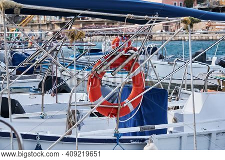 Background - Various Pleasure And Recreational Fishing Boats In The Harbor, Only Fragments Of Struct