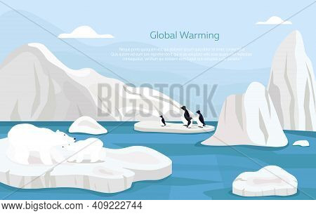 Global Warming Abstract Concept. Group Of Penguins Drifting On A Small Ice Floe Of Melting Antarctic