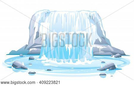 Frozen River Waterfall Falls From Cliff In Front View Isolated Illustration, Picturesque Tourist Att