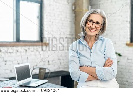 Portrait Of A Charming Smiling Elegant Lady Or Mature Gray-haired Positive Businesswoman, Standing I