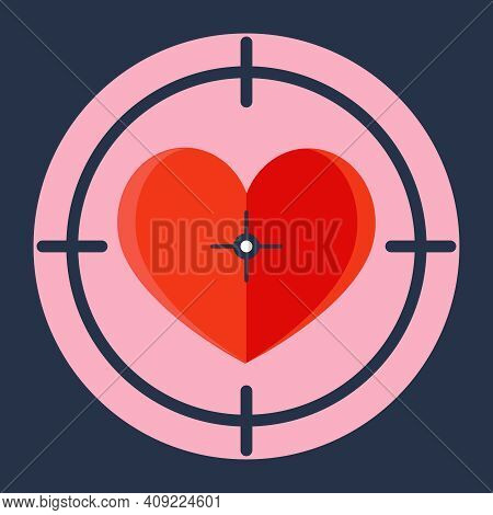 Red Heart In A Sniper Scope. Seduce A Girl. Flat Vector Illustration.