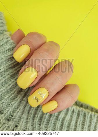 Female Hand Beautiful Manicure Background Beautiful Fingernail