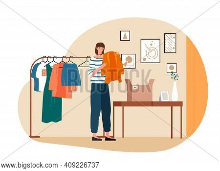 Sad Female Character Received A Parcel With Defective Clothes. Dissapointed Young Woman Standing Wit