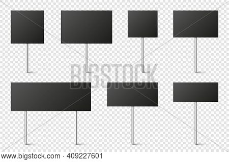 Black Blank Board With Place For Text, Protest Signs Set Isolated On Transparent Background. Realist