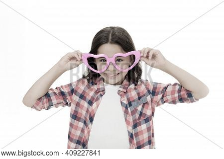Girl Cute Kid Smiling Face Heart Eyeglasses. Love Symbol Concept. Fall In Love. Childhood Love Conce