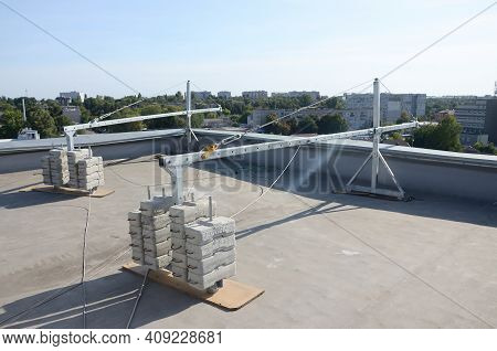 Counter Weight Or Weight Balance Concrete Blocks Or Bricks As Part Of Suspended Wire Rope Platform F