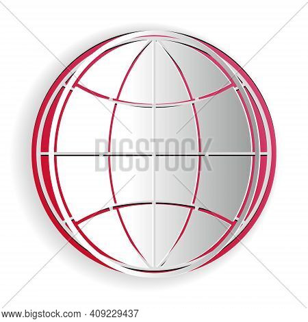 Paper Cut Earth Globe Icon Isolated On White Background. World Or Earth Sign. Global Internet Symbol