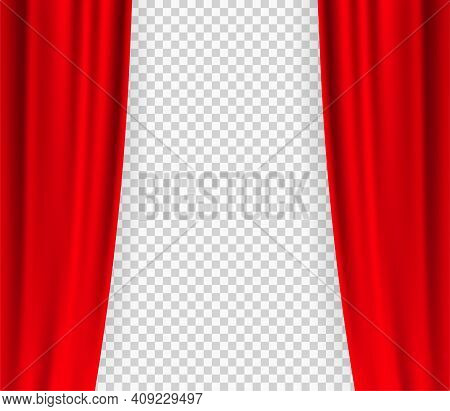 Black Curtain Theater In Vintage Style On Transparent Background. Vintage Curtain Theater, Great Des