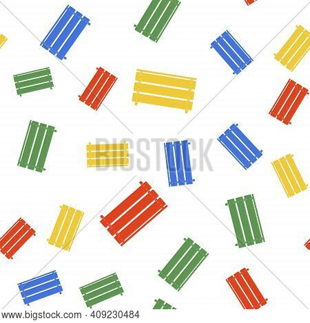 Color Wooden Box Icon Isolated Seamless Pattern On White Background. Grocery Basket, Storehouse Crat