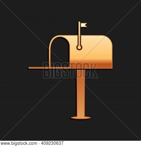 Gold Open Mail Box Icon Isolated On Black Background. Mailbox Icon. Mail Postbox On Pole With Flag.