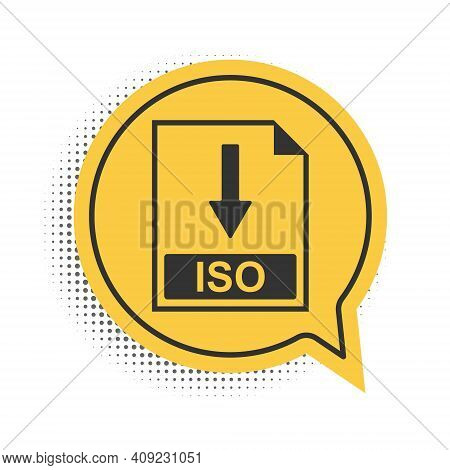 Black Iso File Document Icon. Download Iso Button Icon Isolated On White Background. Yellow Speech B