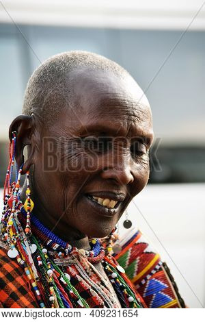Masai Mara, Kenya; 17-08-2018:  Unknown Native Woman From A Masai Tribe In Kenya