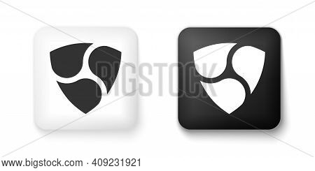 Black And White Cryptocurrency Coin Nem Xem Icon Isolated On White Background. Physical Bit Coin. Di