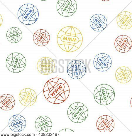 Color Go To Web Icon Isolated Seamless Pattern On White Background. Www Icon. Website Pictogram. Wor
