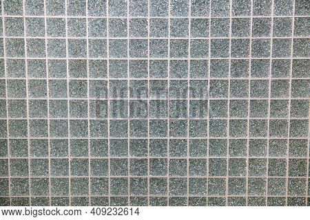 Background Of Mosaic Glass Silver Mirror Square Shape Glued With White Seams Plumbing Bathroom Const