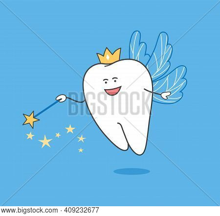 Tooth Fairy. Cartoon Tooth Fairy With Magic Wand And Wings. Dentistry Illustration.