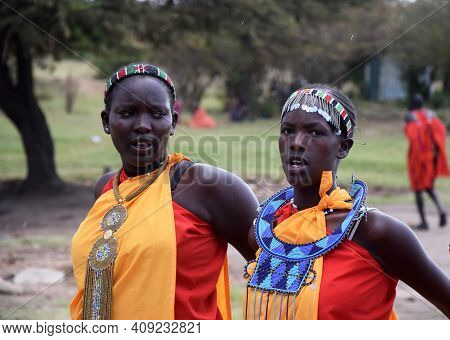 Masai Mara, Kenya; 16-08-2018: Group Of Unknown Womans From A Masai Tribe In Kenya