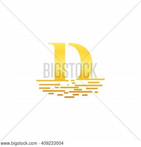 Golden Initial Letter D Logo Vector Template. Letter D In Golden Color With Sunset Or Sunrise Beach