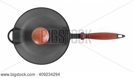 Kitchen Accessories - Top View Cast Iron Frying Pan With Cover Isolated On A White Background.