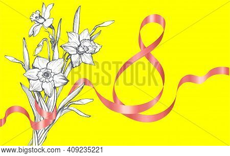 International Womens Day March 8th Greeting Card With Monochrome Hand Drawn Spring Flowers Daffodil