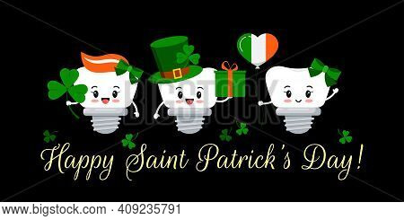 St Patrick Day Teeth Dental Implant On Dentistry Greeting Card. Tooth Irish Character With Gift, Luc