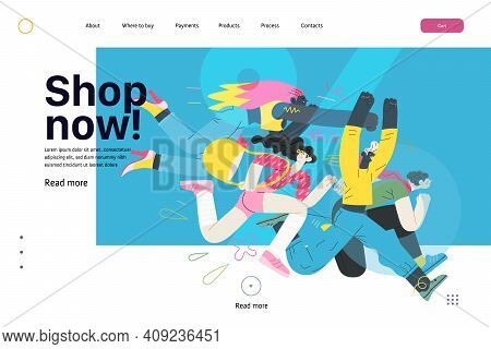 Discounts, Sale, Promotion, Web Template - Modern Flat Vector Concept Illustration Of People Crowd R