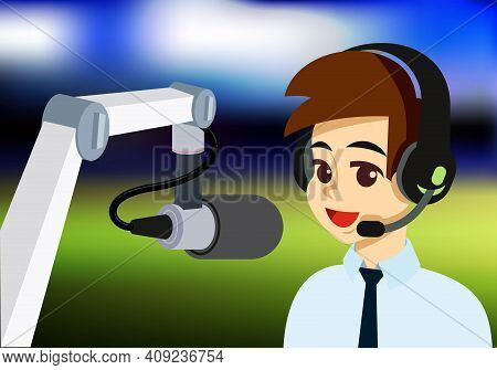 Man With Stylish Hairstyle With Headphone And Microphone. Radio Dj, Announcer,