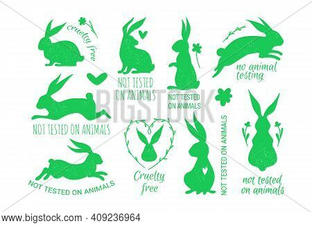 Vector Set Of Cruelty Free Badges With A Rabbit Not Tested On Animals, Cruelty Free Badges.
