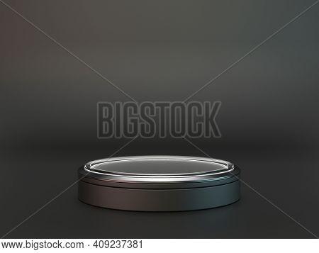 Pedestal with glowing light circle on dark grey background, Blank Pedestal minimal concept template - 3d rendering mockup