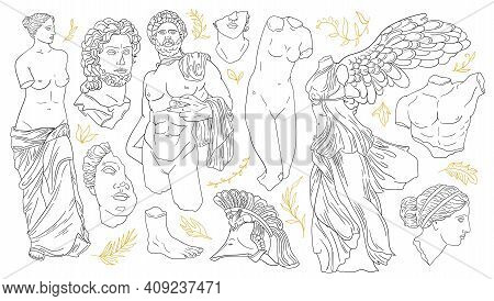 Vector Set Of Antique Sculptures. Antique Statues Venus, Apollo, Nike, Greek Statue Head And Body. L