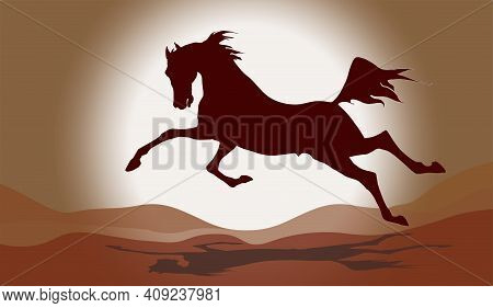The Silhouette Of A Galloping Horse Isolated Against The Background Of A Night Star