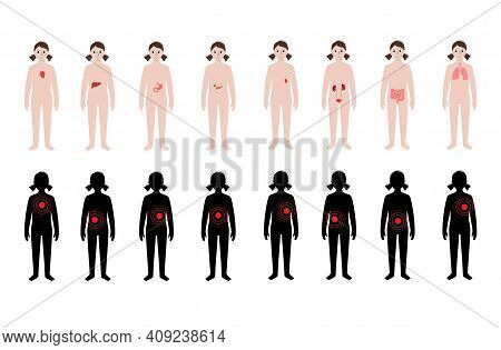 Pain In Internal Organs In A Child Body Set. Problem With Liver, Pancreas, Lungs And Other Organs In