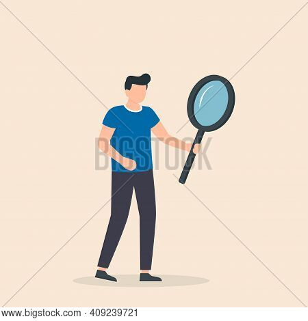 Man With Big Magnifying Glass Searching For Information. Search For Information And Investigation, D