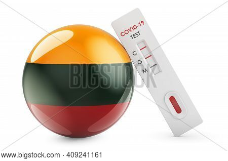 Diagnostic Test For Coronavirus In Lithuania. Antibody Test Covid-19 With Lithuanian Flag, 3d Render