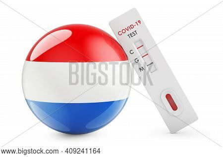 Diagnostic Test For Coronavirus In Luxembourgish. Antibody Test Covid-19 With Luxembourgish Flag, 3d