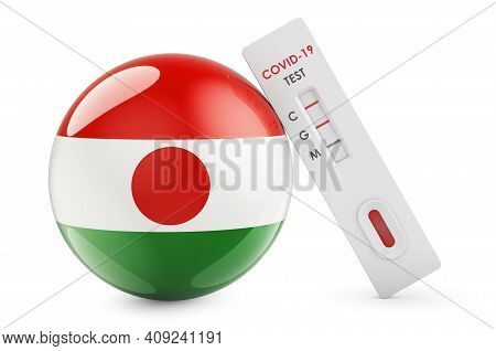 Diagnostic Test For Coronavirus In Niger. Antibody Test Covid-19 With Niger Flag, 3d Rendering Isola