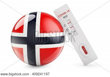 Diagnostic Test For Coronavirus In Norway. Antibody Test Covid-19 With Norwegian Flag, 3d Rendering