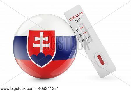 Diagnostic Test For Coronavirus In Slovakia. Antibody Test Covid-19 With Slovak Flag, 3d Rendering I