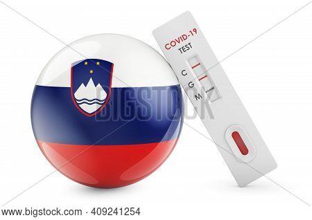 Diagnostic Test For Coronavirus In Slovenia. Antibody Test Covid-19 With Slovenian Flag, 3d Renderin