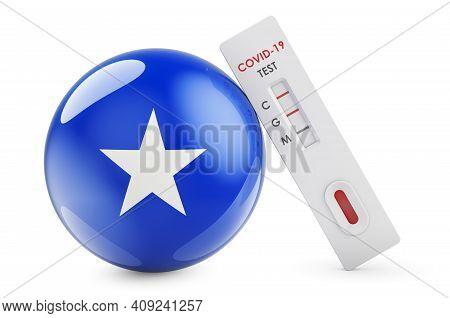 Diagnostic Test For Coronavirus In Somalia. Antibody Test Covid-19 With Somali Flag, 3d Rendering Is