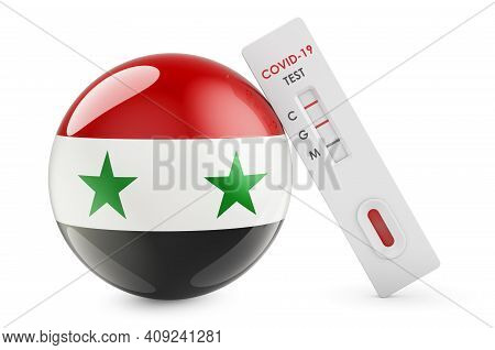 Diagnostic Test For Coronavirus In Syria. Antibody Test Covid-19 With Syrian Flag, 3d Rendering Isol