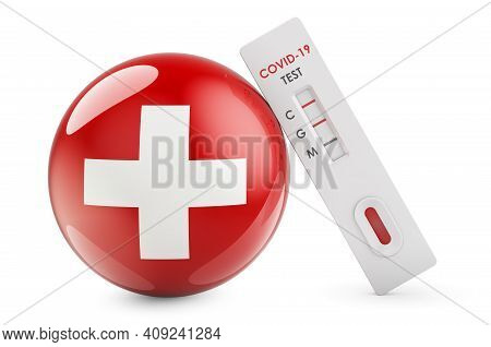 Diagnostic Test For Coronavirus In Switzerland. Antibody Test Covid-19 With Swiss Flag, 3d Rendering
