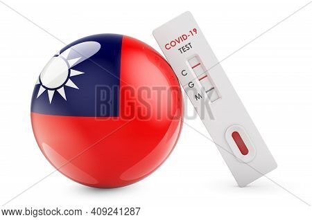 Diagnostic Test For Coronavirus In Taiwan. Antibody Test Covid-19 With Taiwanese Flag, 3d Rendering