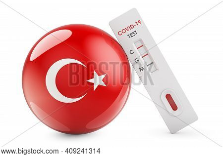 Diagnostic Test For Coronavirus In Turkey. Antibody Test Covid-19 With Turkish Flag, 3d Rendering Is