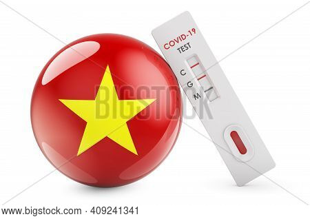 Diagnostic Test For Coronavirus In Vietnam. Antibody Test Covid-19 With Vietnamese Flag, 3d Renderin