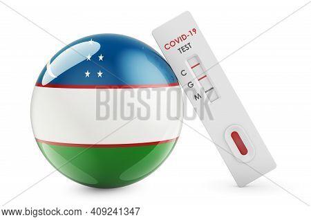 Diagnostic Test For Coronavirus In Uzbekistan. Antibody Test Covid-19 With Uzbek Flag, 3d Rendering