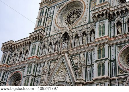 Low Angle View Of Famous Santa Maria Del Fiore Chatedral Facade In Florence, Italian Monuments