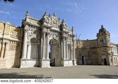 Dolmabahce Palace Of 19th Century. Exterior Facade Of The Gate Of Treasury. Besiktas District, City