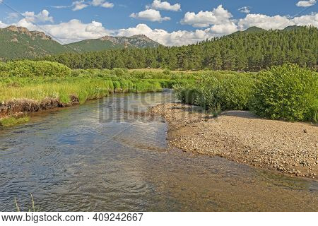 Quiet Stream In A Mountain Meadow In Moraine Park In Rocky Mountain National Park In Colorado
